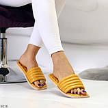 Шльопанці жіночі жовті/ гірчичні з квадратним носком еко - шкіра, фото 7