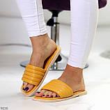Шльопанці жіночі жовті/ гірчичні з квадратним носком еко - шкіра, фото 8