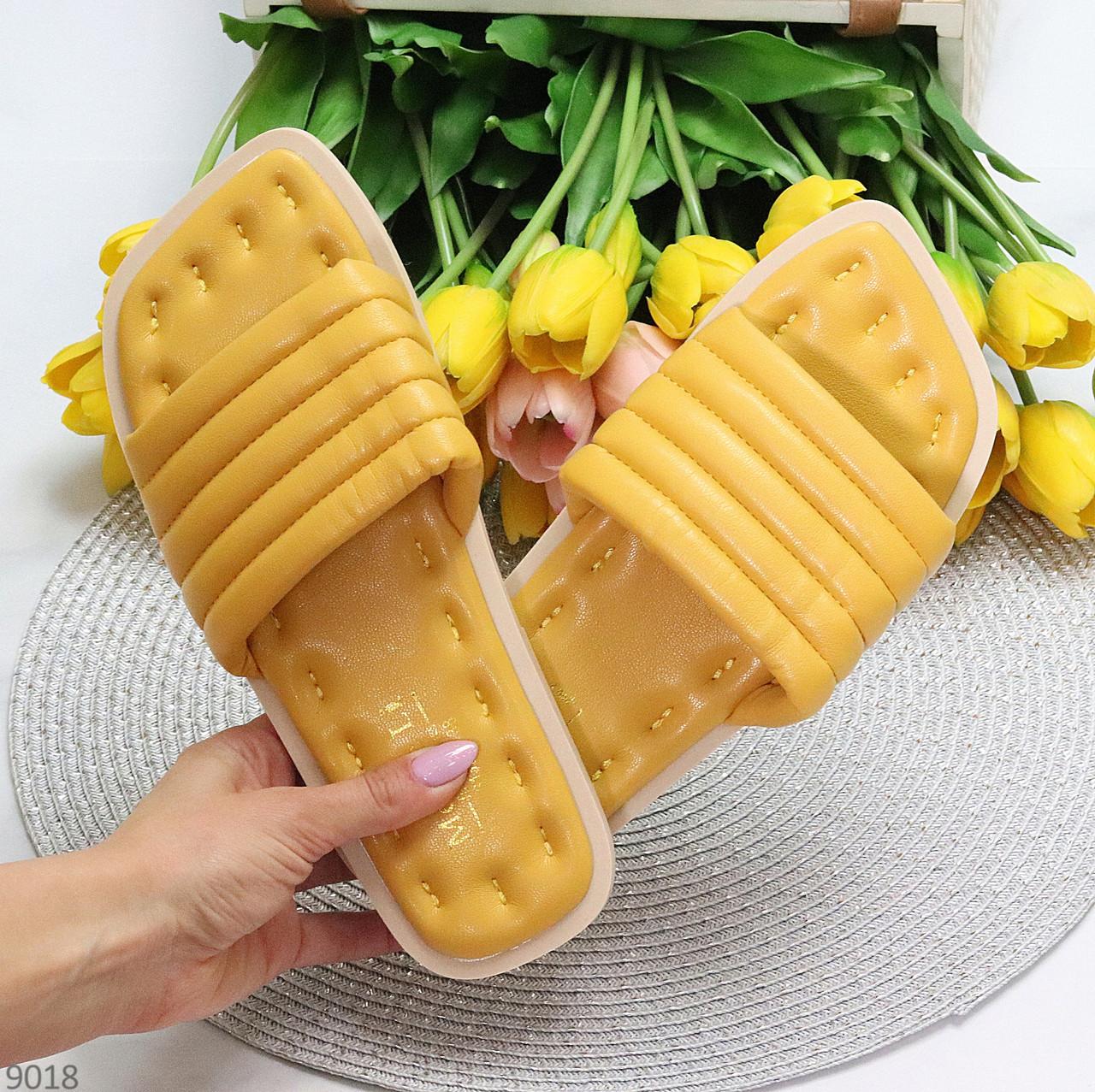 Шльопанці жіночі жовті/ гірчичні з квадратним носком еко - шкіра