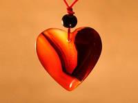 Сердце / Амулет кулон из сердолика 3 см