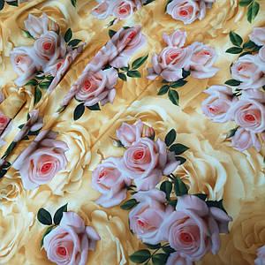 Ткань супер софт принт розы на золотистом