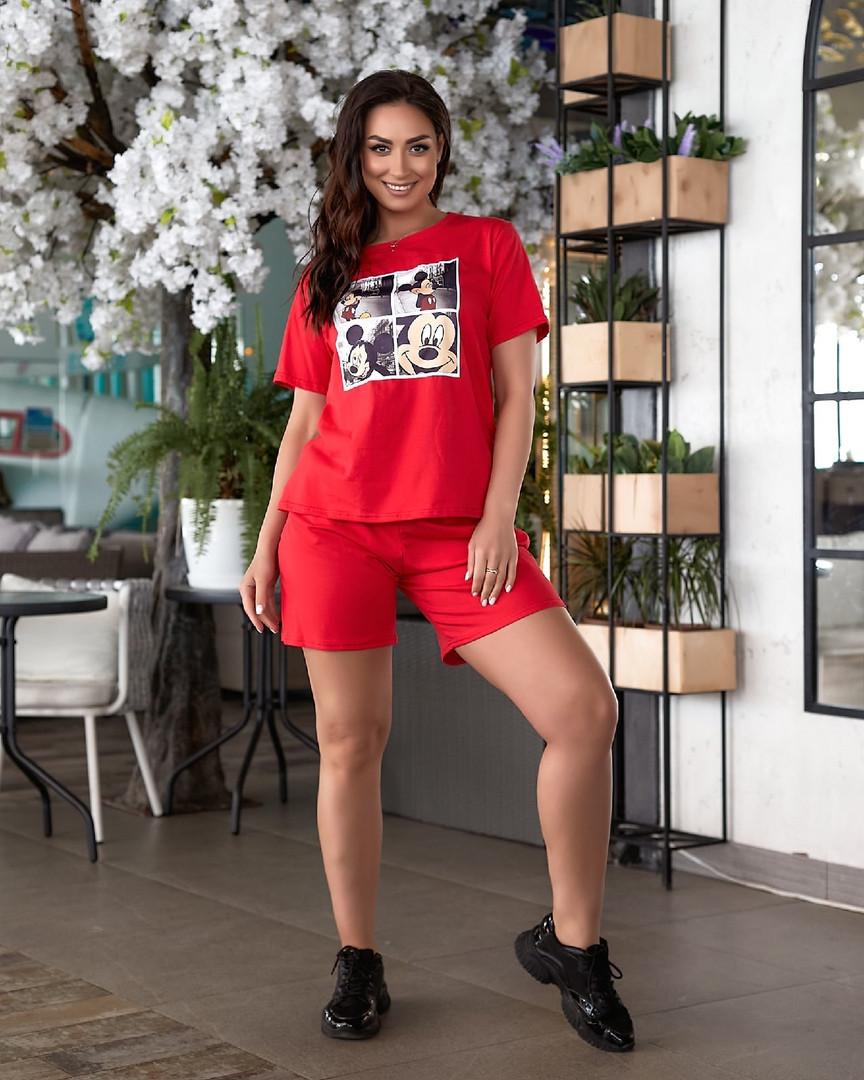 Жіночий літній костюм футболка принт Міккі і шорти розмір: 48-50, 52-54