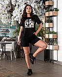 Жіночий літній костюм футболка принт Міккі і шорти розмір: 48-50, 52-54, фото 2