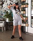 Жіночий літній костюм футболка принт Міккі і шорти розмір: 48-50, 52-54, фото 3