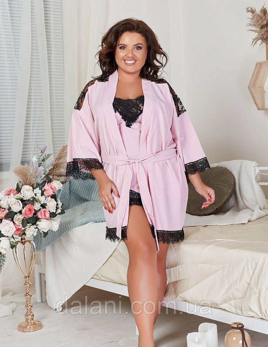 Жіночий рожевий домашній комплект з топа, шортів та халата з мереживом