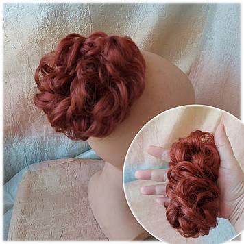 Резинка-шиньон из волос ярко-рыжий 977-131