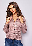 Укороченная женская розовая куртка демисезонная