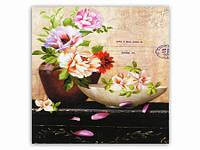 Картина Magnifique / 15х15 см / Два вазона / Цветы 15x15x1 см