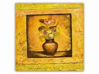 Цветы Вазон Желтая / Картина 15x15x1 см