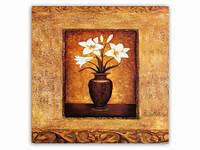 Цветы Белые Лилии Вазон / Картина 15x15x1 см