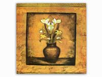 Цветы Белые и Желтые Нарциссы Вазон / Картина 15x15x1 см