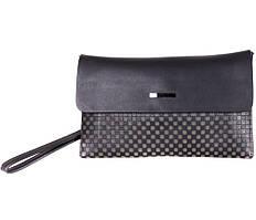 Чорний чоловічий клатч з натуральної шкіри під багато карт ST Leather сірий