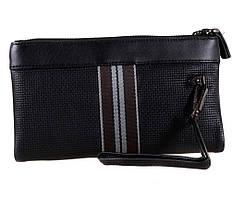Качественный мужской клатч черного цвета из натуральной кожи с ремешком на запястье ST Leather  Черный