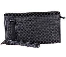 Мужской клатч черного цвета из натуральной кожи ST Leather Серый