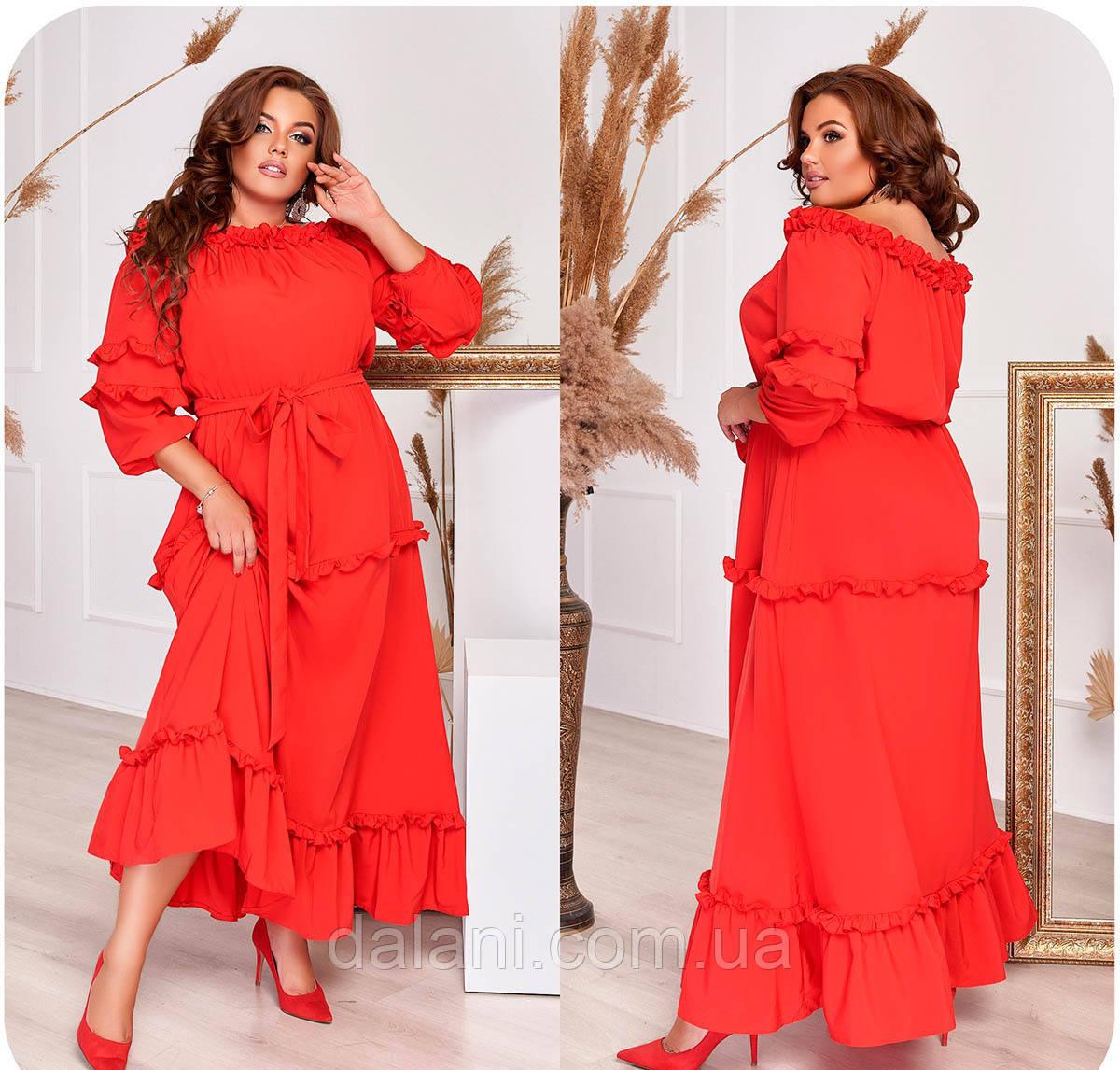 Вечірнє червоне плаття максі з оборками батал