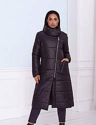 Женская дутая удлинённая черная куртка на синтепоне батал