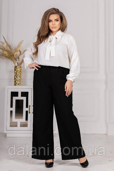 Женский черно-белый костюм из блузы и широких брюк