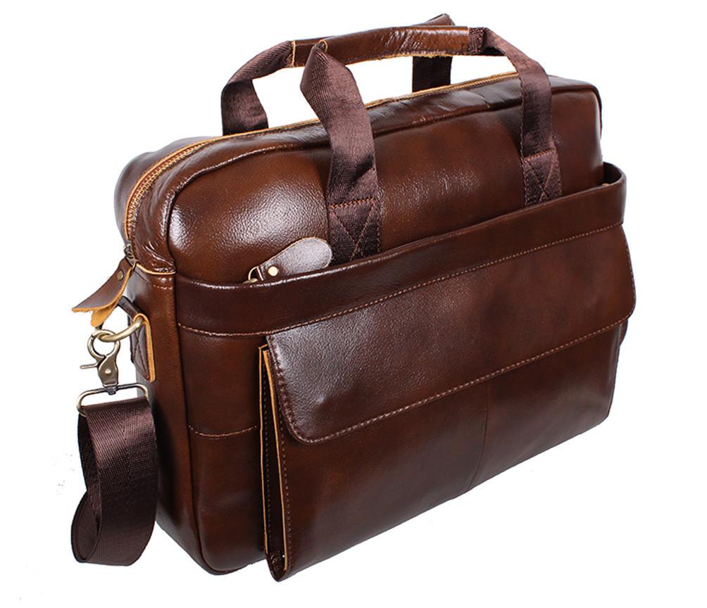 Мужская кожаная сумка R009 коричневая