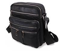 Чоловіча шкіряна сумка 6029 чорна, фото 1