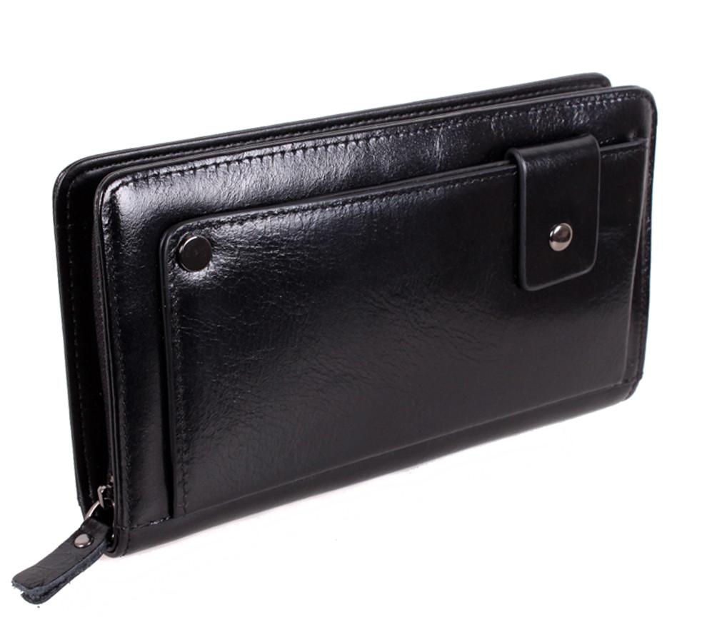 Чоловічий гаманець-клатч з натуральної шкіри високої якості на блискавці ST Leather Чорний