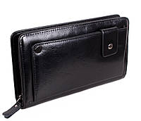 Чоловічий гаманець-клатч з натуральної шкіри високої якості на блискавці ST Leather Чорний, фото 1