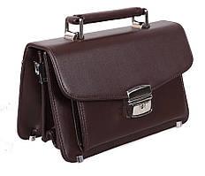 Добротная барсетка из фактурной кожи коричневого цвета ST Leather