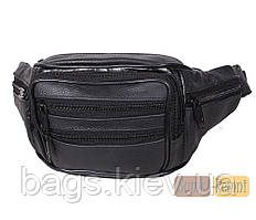 Мужская кожаная сумка бананка на пояс или на грудь ST Leather Черная нагрудная сумка