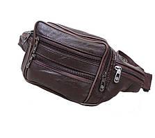 Кожаная мужская сумка на пояс из качественной натуральной кожи ST Leather темно-коричневая