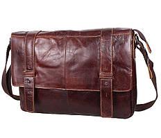 Мужская кожаная сумка портфель для документов Коричневая