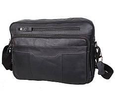 Мужская кожаная сумка для документов или ноутбука на два отделения ST черная из натуральной кожи