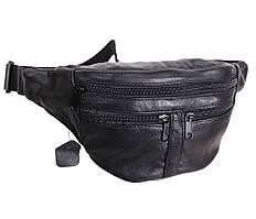 Стильная кожаная мужска бананка - сумка на пояс из натуральной кожи ST Leather черная