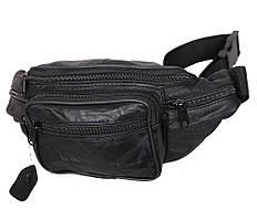 Качественная мужская кожаная бананка на пояс ST Leather черная поясная сумка из натуральной кожи