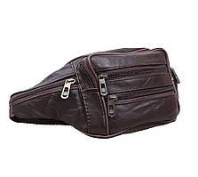 Мужская кожаная сумка на пояс ST Leather коричневая поясная барсетка из натуральной кожи