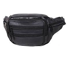 Модная кожаная мужская сумка на пояс из натуральной кожи ST Leather черная Барсетка поясная
