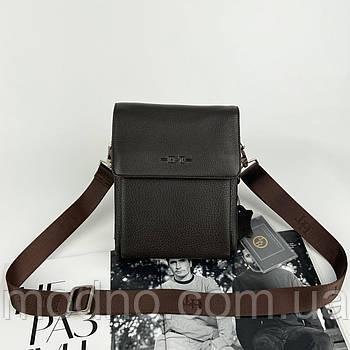 Чоловіча шкіряна сумка через плече коричнева H. T. Leather