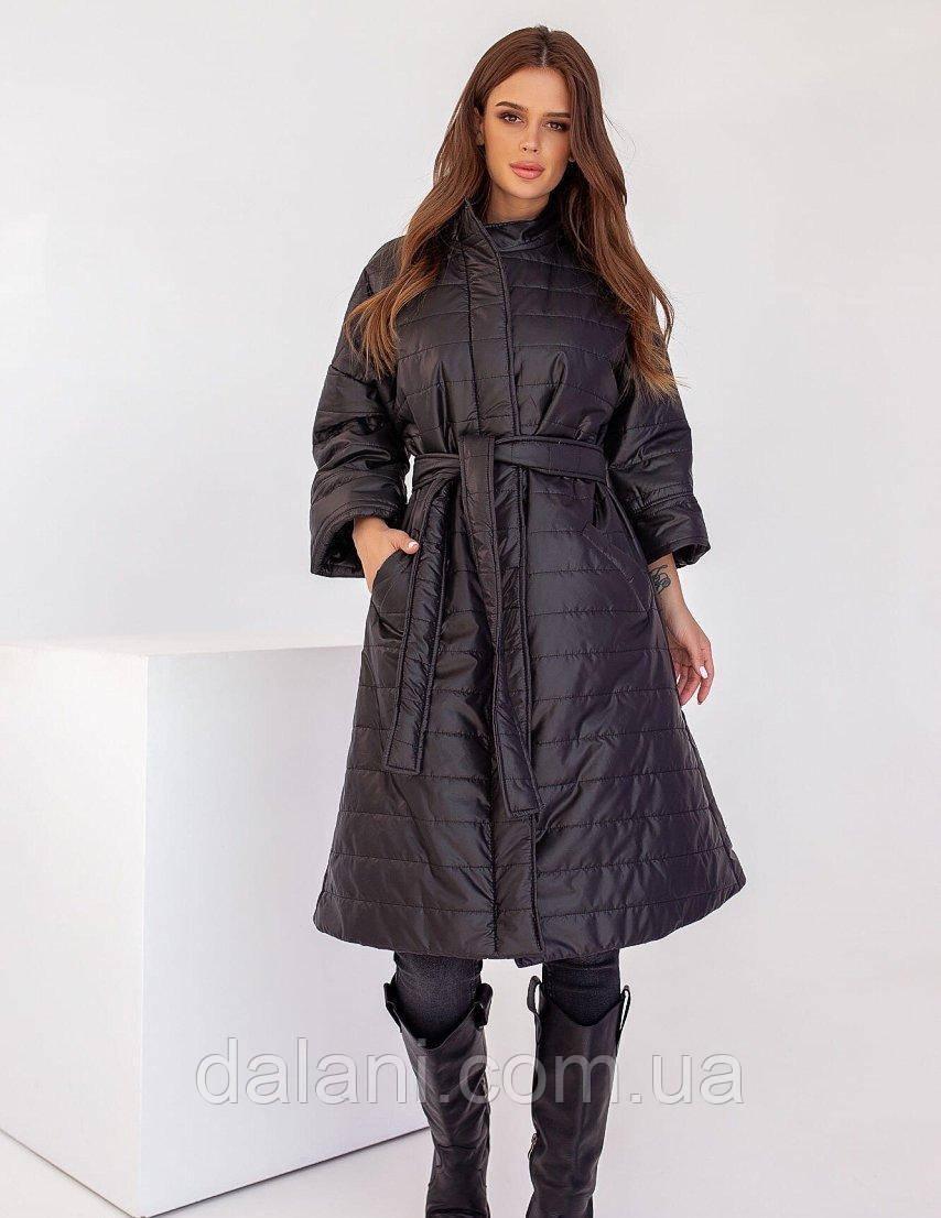 Женская черная стеганная куртка миди с поясом