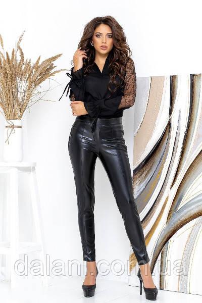 Жіночі шкіряні чорні брюки