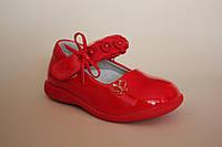 Детские туфли для девочки размеры 20-25 красные кораловые и белые