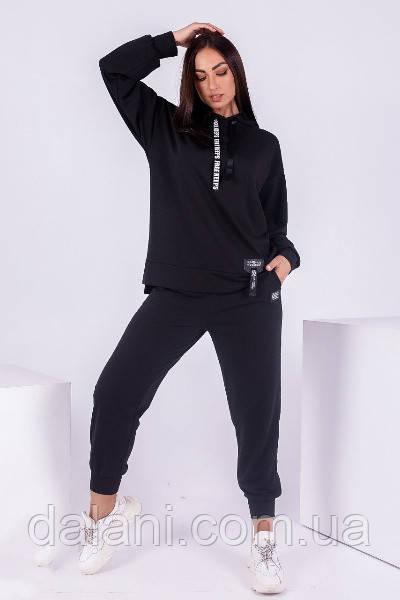 Жіночий спортивний чорний костюм трикотажний