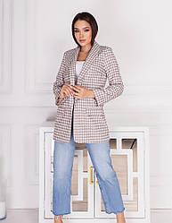 Женский бежевый пиджак с узором гусиная лапка