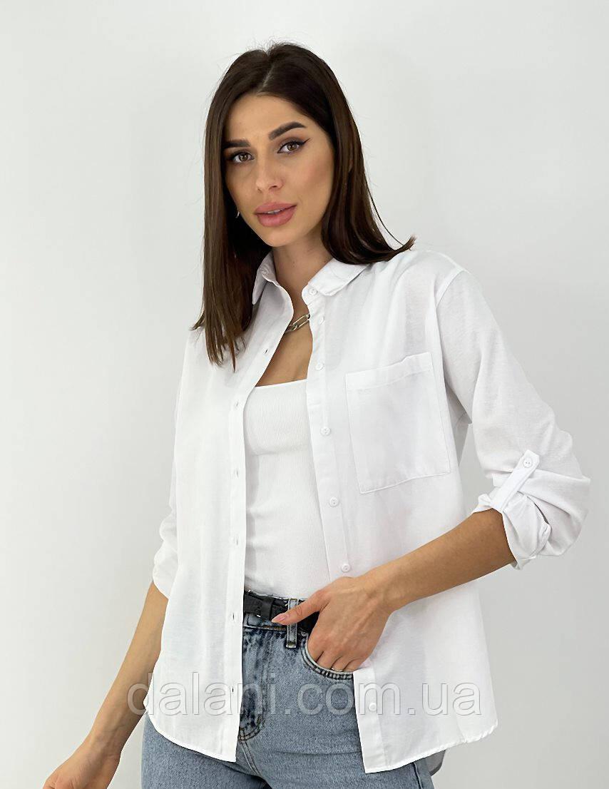 Женская белая рубашка из коттона на пуговицах