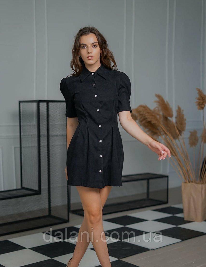 Женское черное вельветовое платье мини