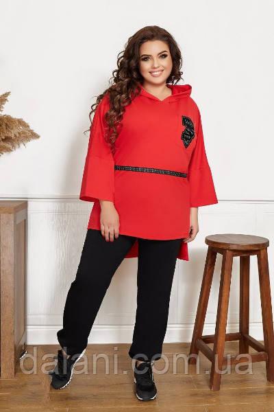 Женский черно-красный костюм из туники с капюшоном и джоггеров
