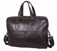Сумка-портфель мужская кожаная для ноутбука и документов Tiding Bag коричневая