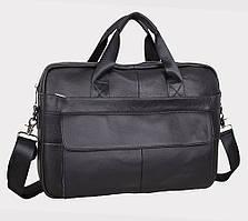 Мужская кожаная сумка на два отделения Leather Collection Черная из натуральной кожи