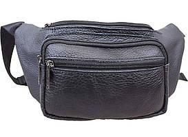 Мужская кожаная сумка на пояс ST Leather Черная из натуральной кожи
