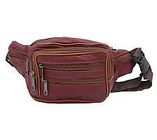 Качественная мужская поясная сумка из натуральной кожи ST Leather бордовая классическая бананка на пояс
