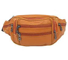 Качественная мужская кожаная бананка - сумка на пояс ST Leather рыжая из натуральной кожи