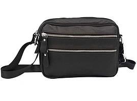 Мужская сумка из натуральной кожи Tiding Bag Черная горизонтальная