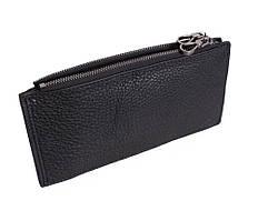 Чорний чоловічий гаманець-клатч з натуральної шкіри на блискавці ST Чорний